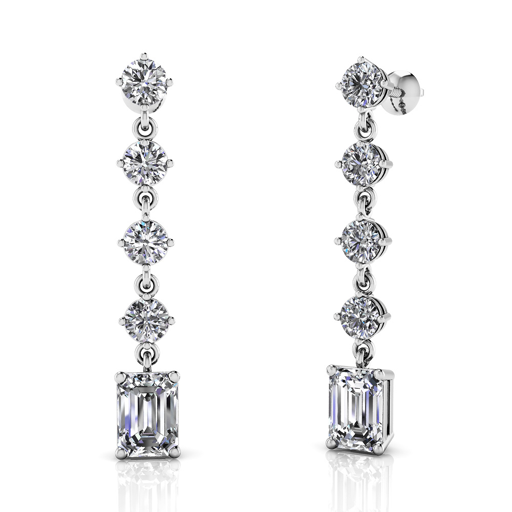 Image of Sparkling Round Drop and Emerald Cut Earrings