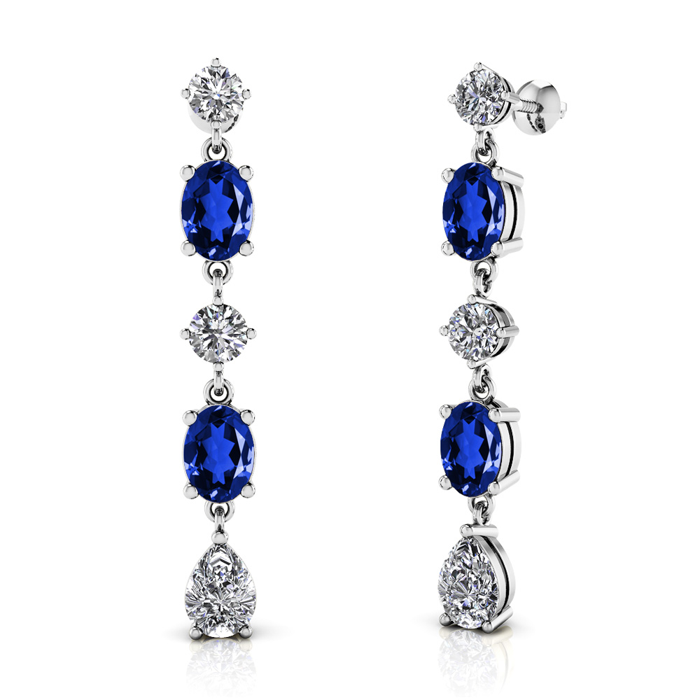 Image of Celebration Diamond and Gemstone Drop Earrings