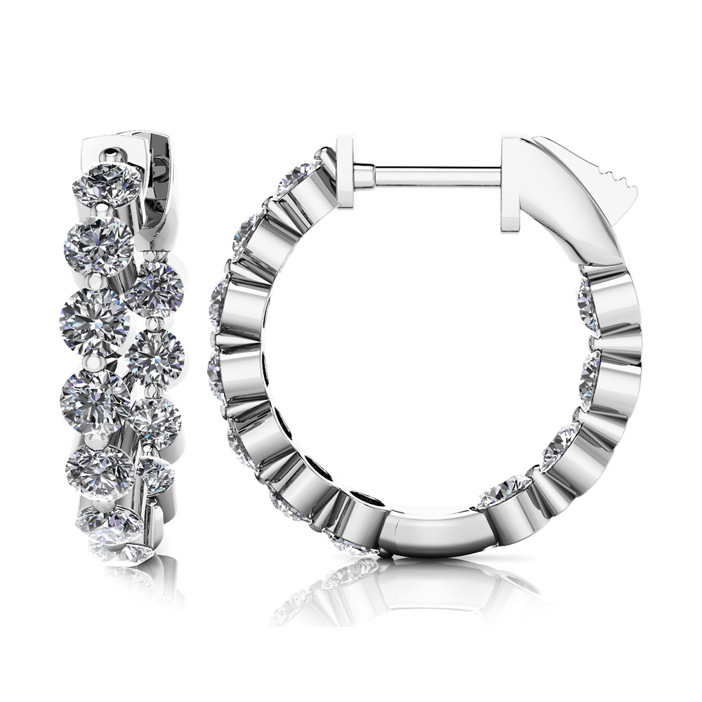 Image of Shared Prong Diamond Hoop Earrings Extra Small