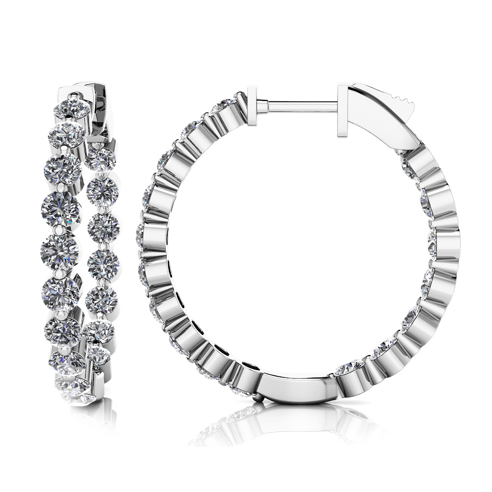 Image of Shared Prong Diamond Hoop Earrings Small