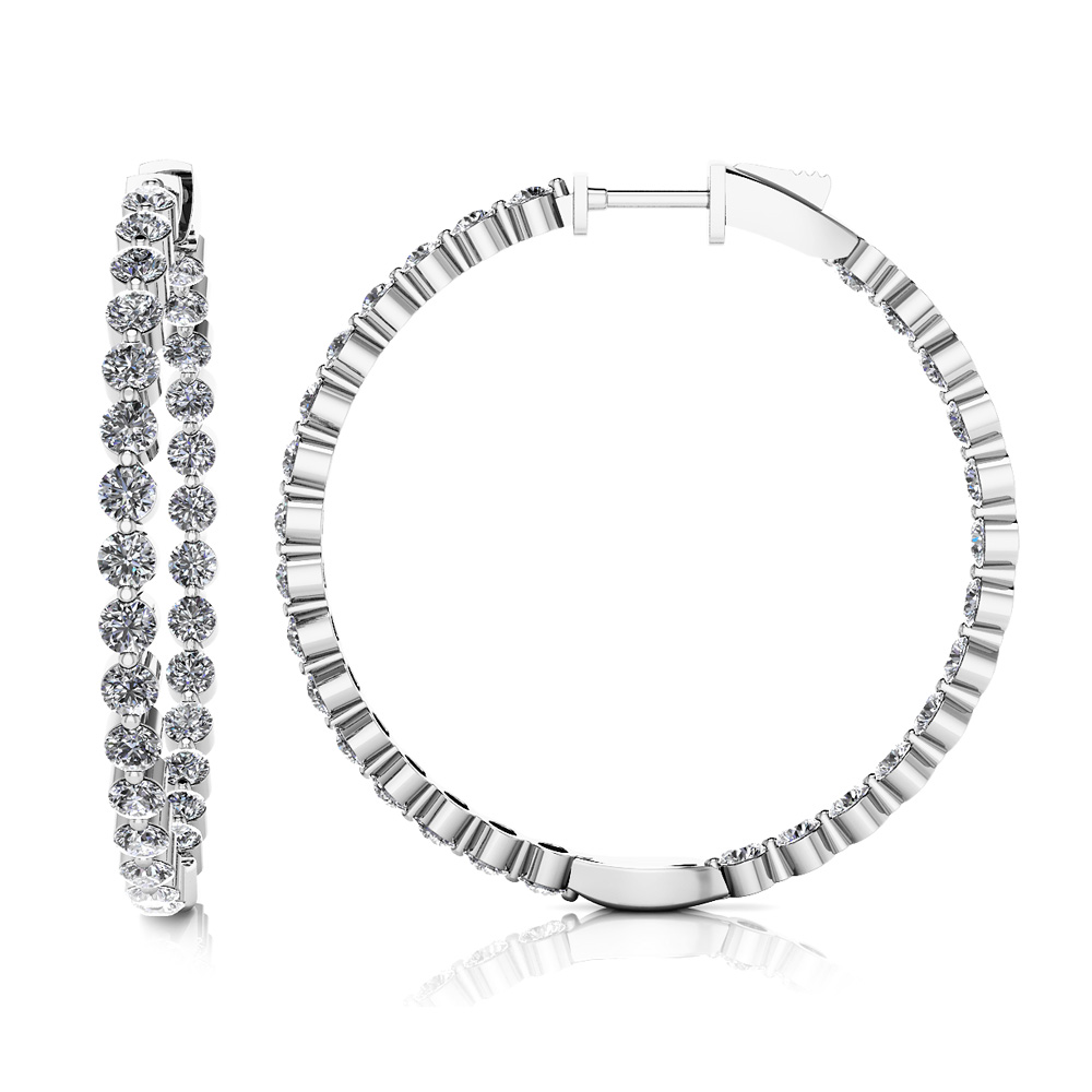 Image of Shared Prong Diamond Hoop Earrings Large