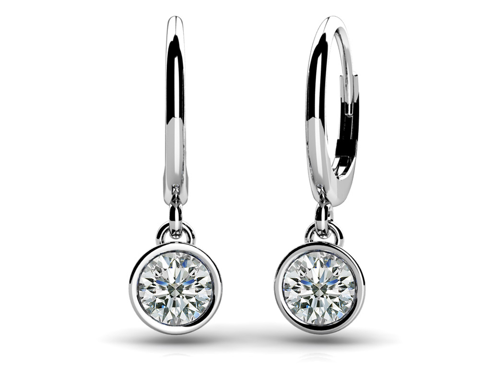 Image of Bezel Set Diamond Drop Earrings
