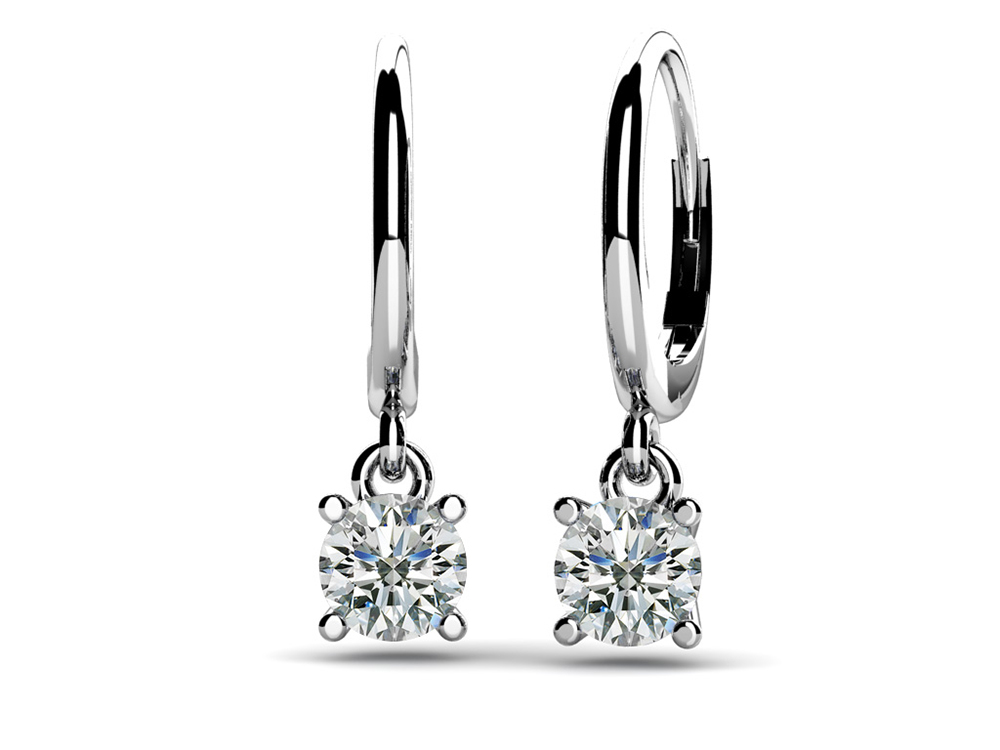 Image of Classic Four Prong Diamond Drop Earrings