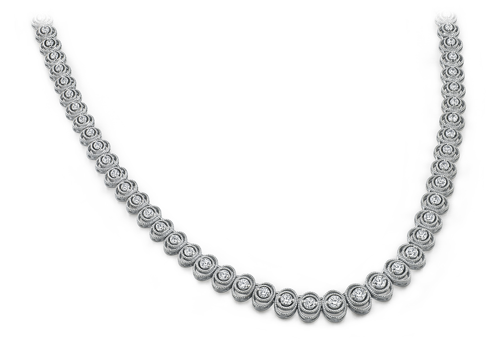 Image of Antique Oval Diamond Necklace