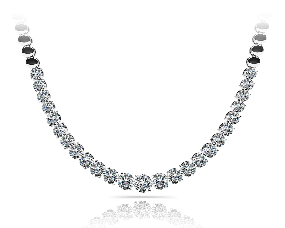 Image of Graduated Diamond Strand Necklace With Shiny Links