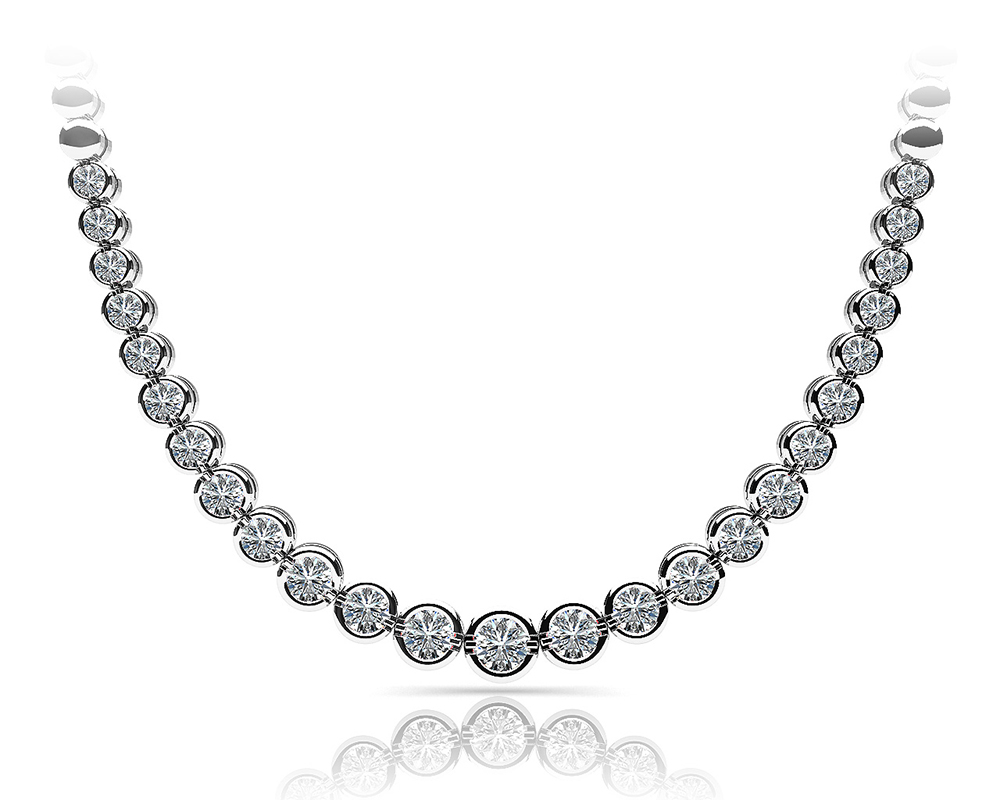 Image of Classic Diamond Strand Necklace with Shiny Links
