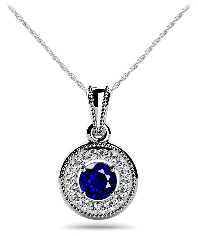 Image of Center Gemstone Diamond Circle Pendant