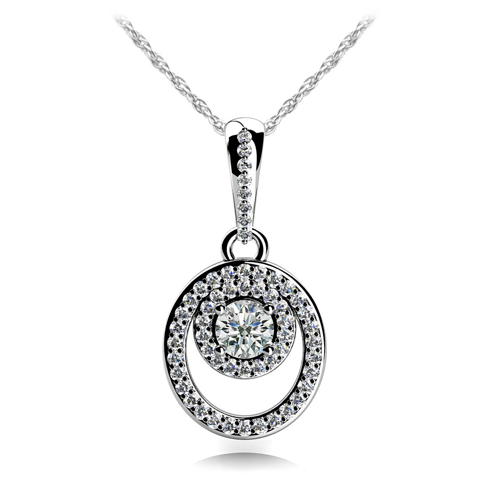 Image of Circle and Oval Diamond Pendant