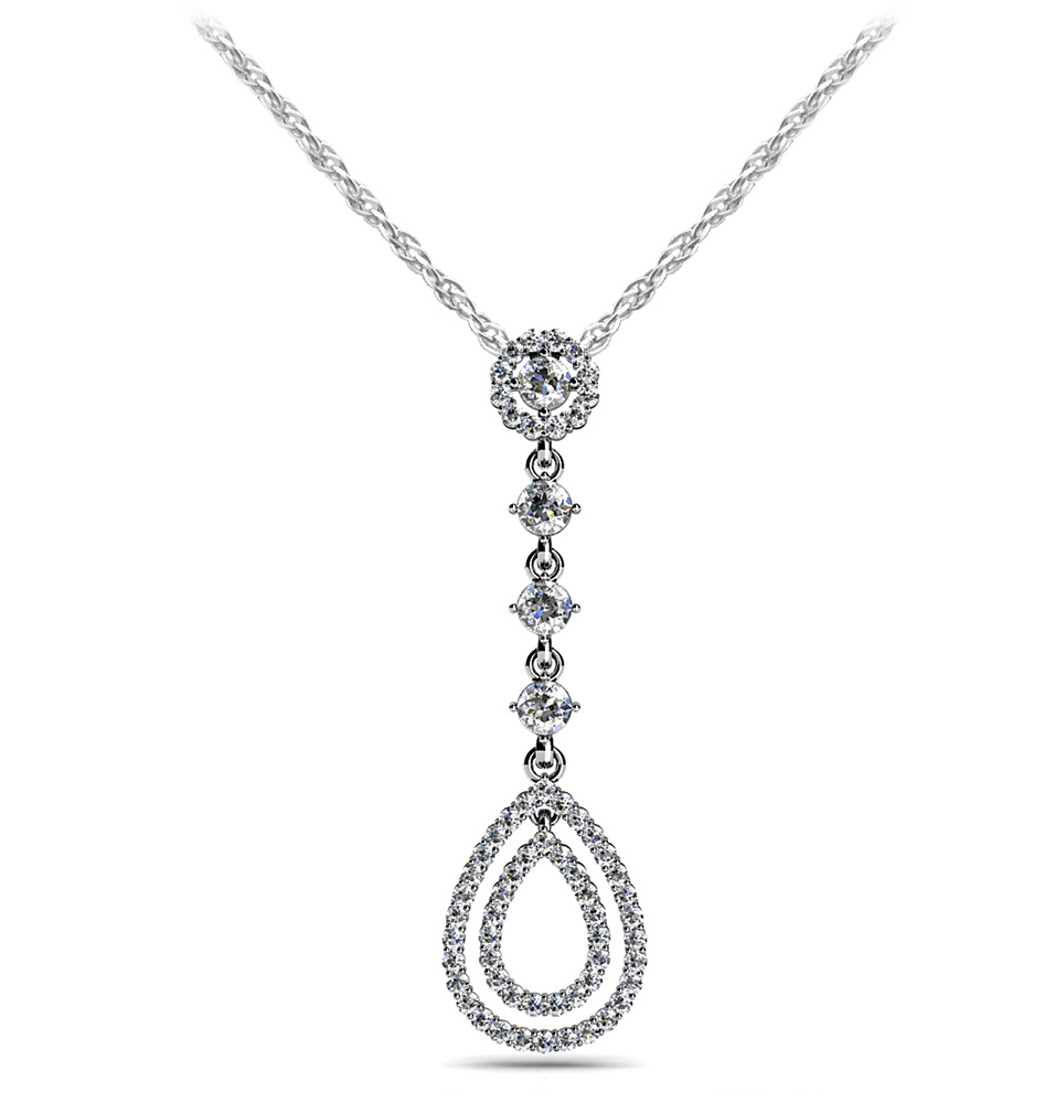 Image of Designer Double Drop Diamond Pendant
