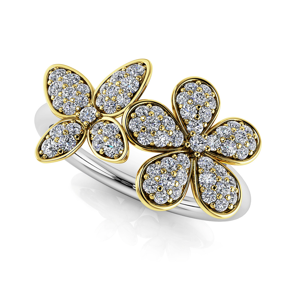 Image of Butterfly and Flower Diamond Ring