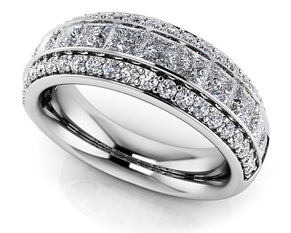 Image of Three Row Princess Cut and Round Diamond Ring