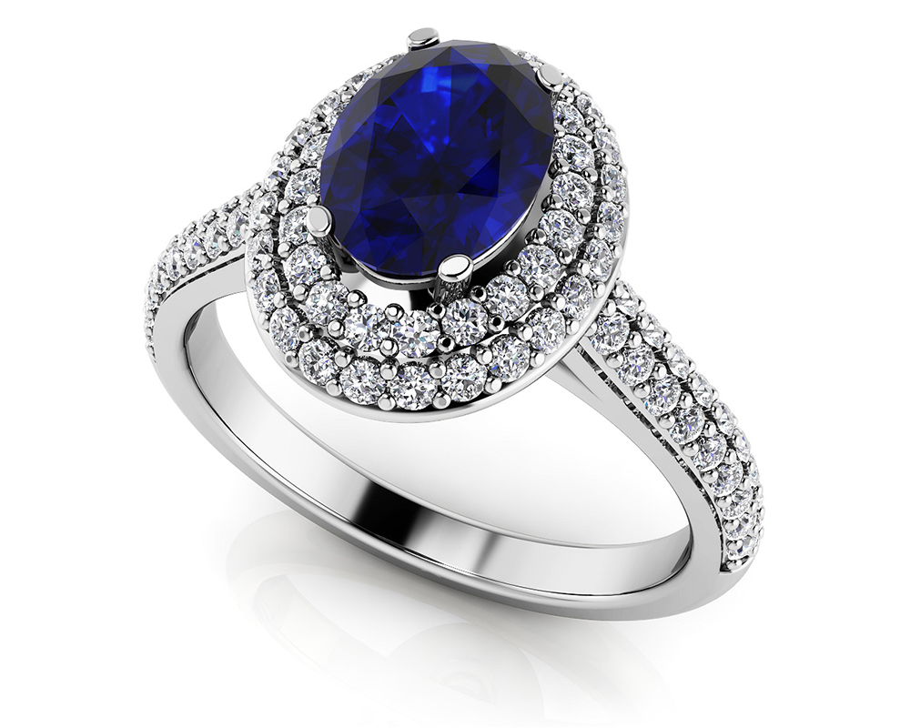 Image of Double Halo Oval Gemstone Anniversary Ring
