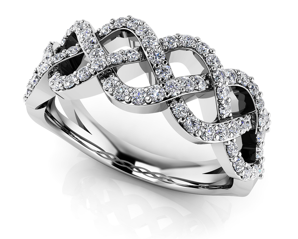 Image of Braided Diamond Anniversary Ring