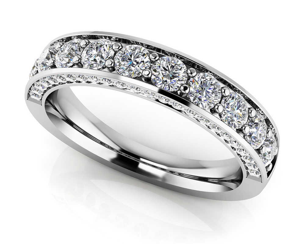 Image of Glamorous Anniversary Ring with Side Stones