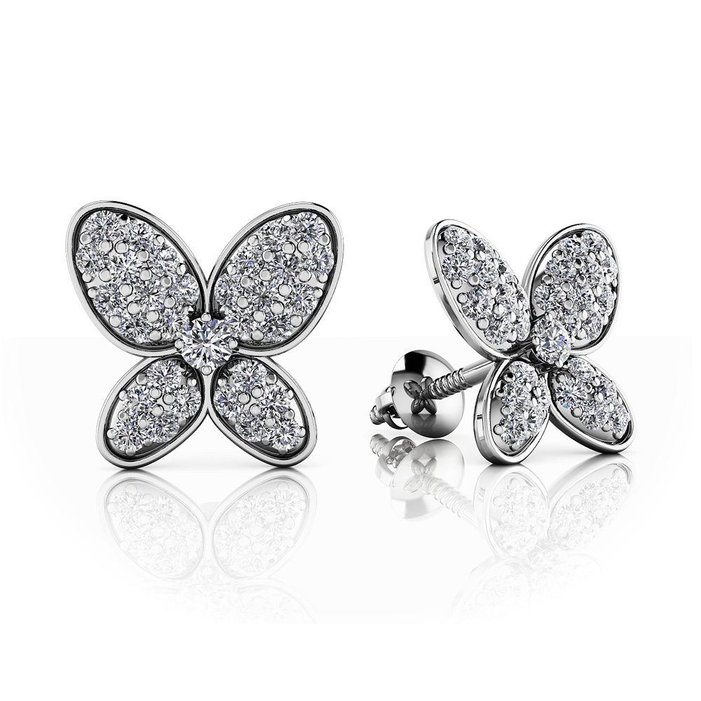 Image of Charming Butterfly Diamond Studs