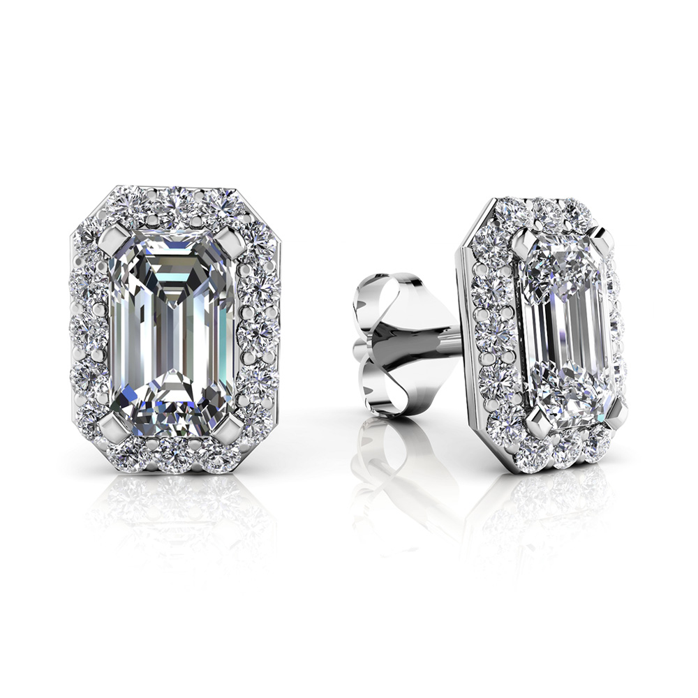 Image of Finishing Touch Diamond Emerald Cut Halo Earrings
