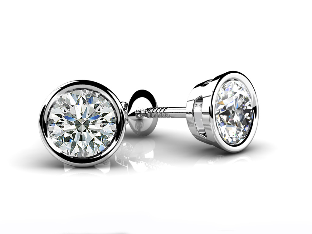 Image of Bezel Set Round Diamond Stud Earrings
