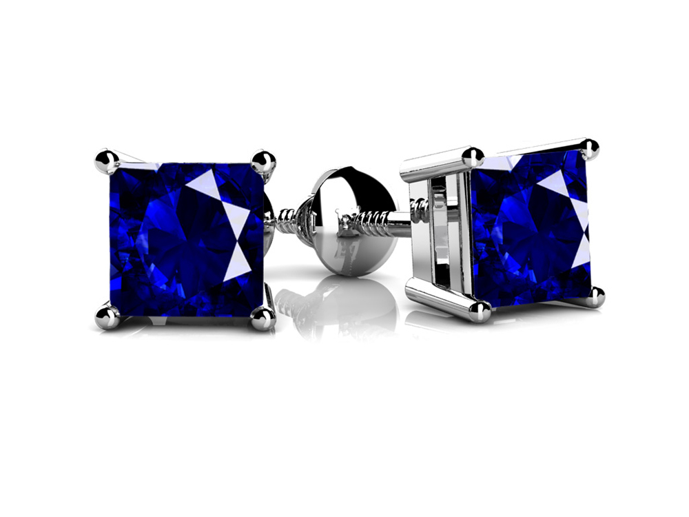 Image of Four Prong Princess Cut Gemstone Stud Earrings
