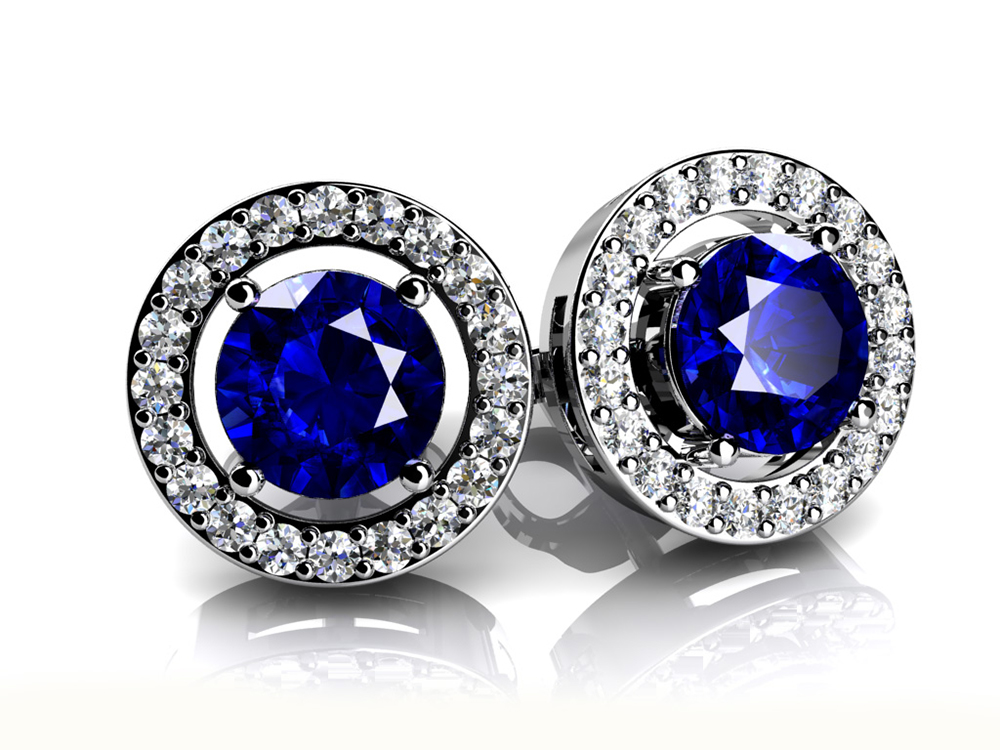 Image of Legendary Round Gemstone Stud Earrings