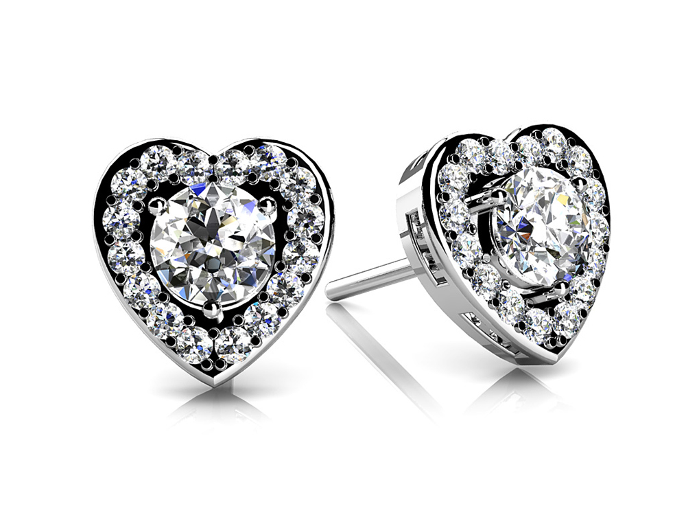Image of Diamond Heart Studs