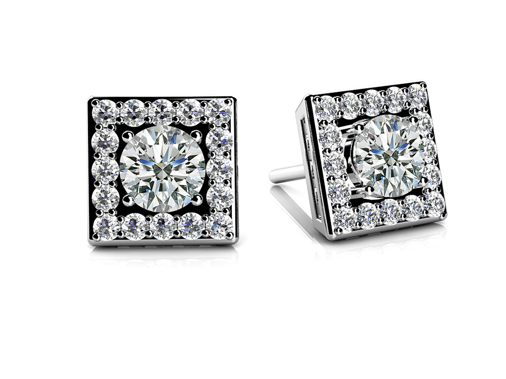Image of Diamond Centered Square Studs