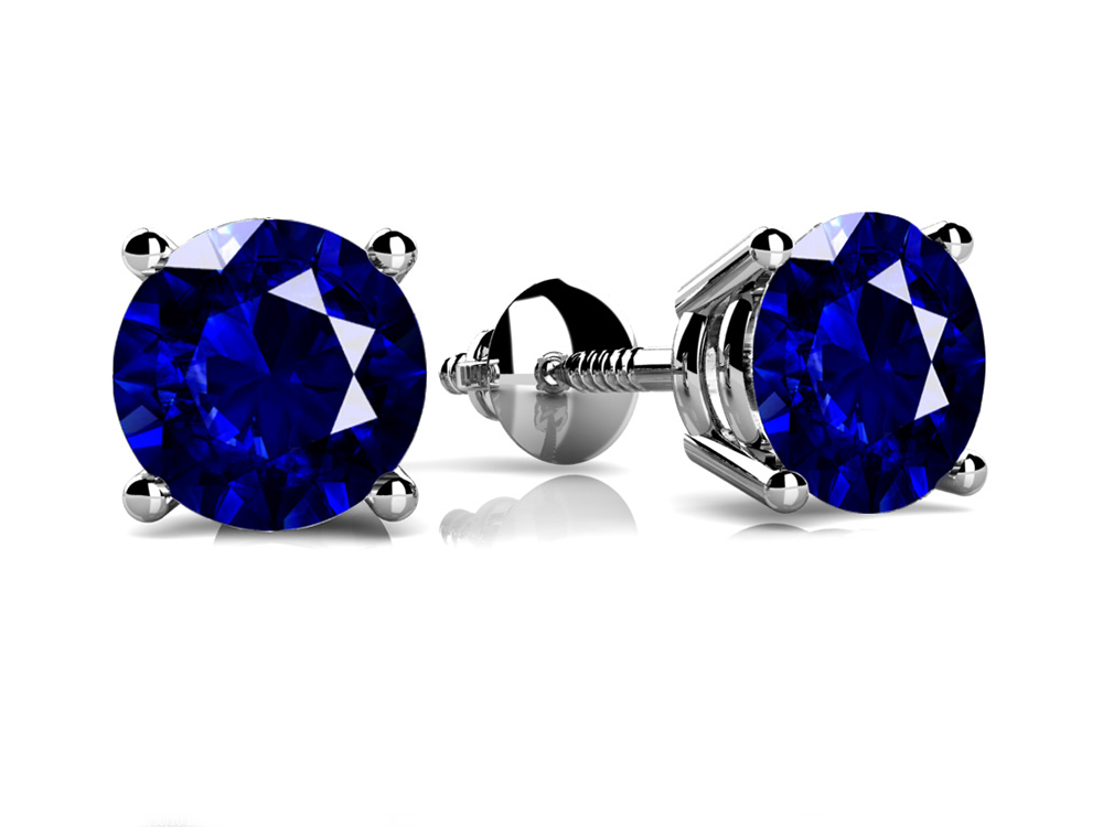 Image of Classic Four Prong Round Gemstone Stud Earrings