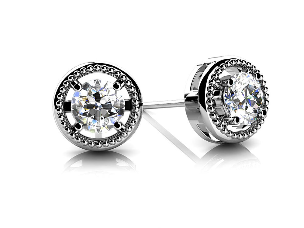 Image of Circle Housed Diamond Stud Earrings