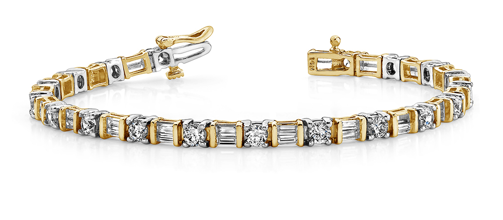 Image of Round and Baguette Diamond Bracelet