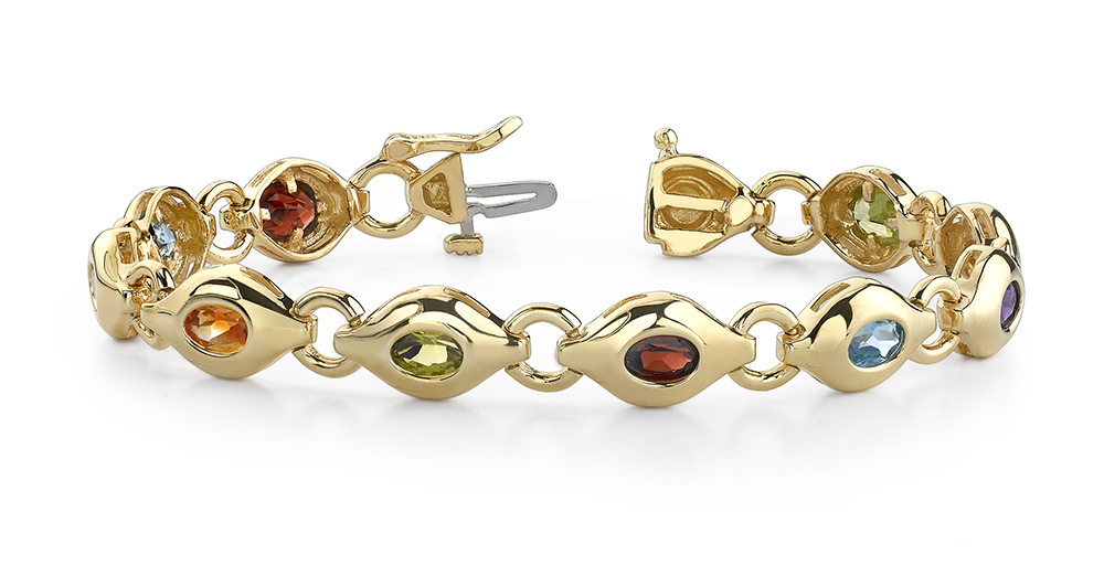 Image of Colored stone eye link bracelet