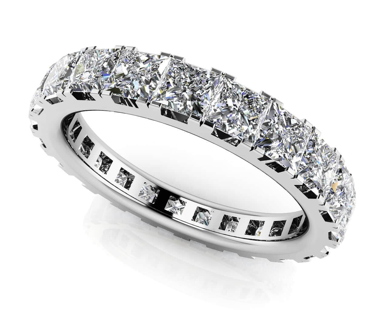bands ring cut princess full eternity carat wedding diamond platinum band