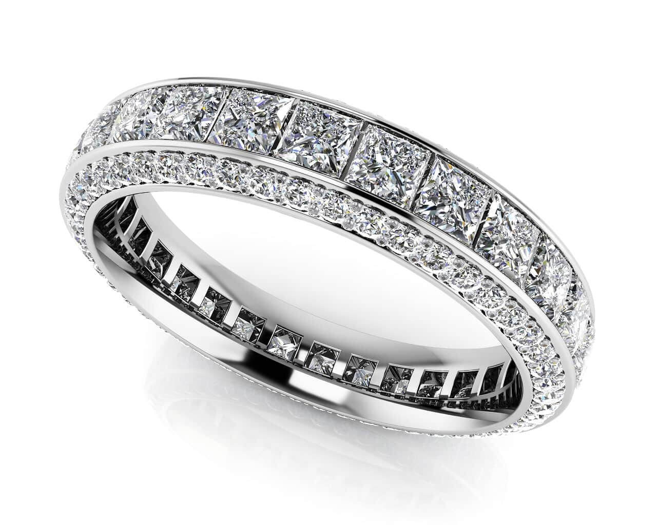 g princess ladies in white color ct wedding bands band si cut kt round eternity clarity gold ring diamond
