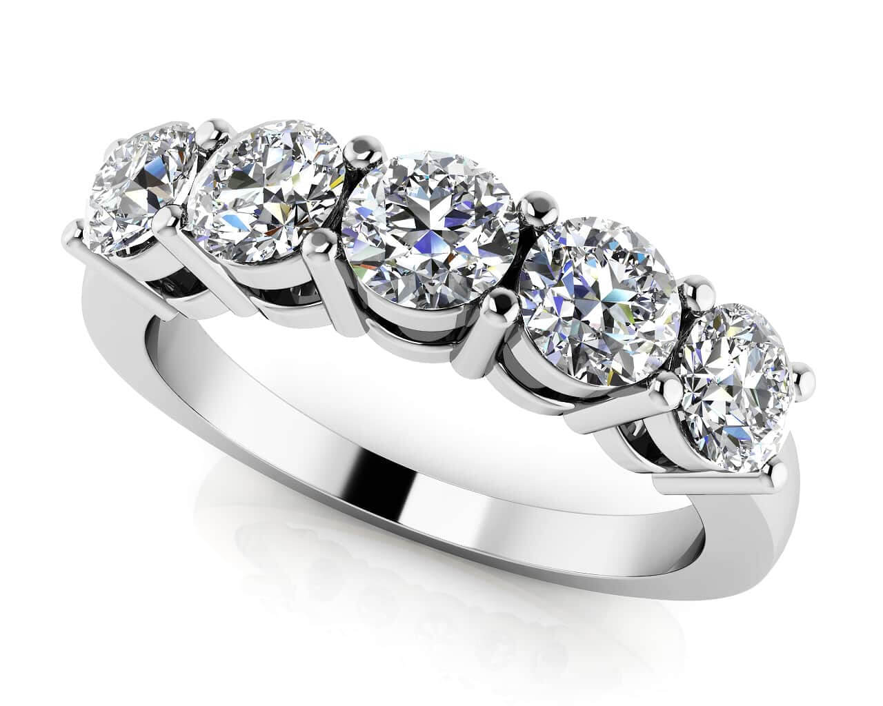 band classic tw diamond five bands ring princess in platinum stone p cut ct