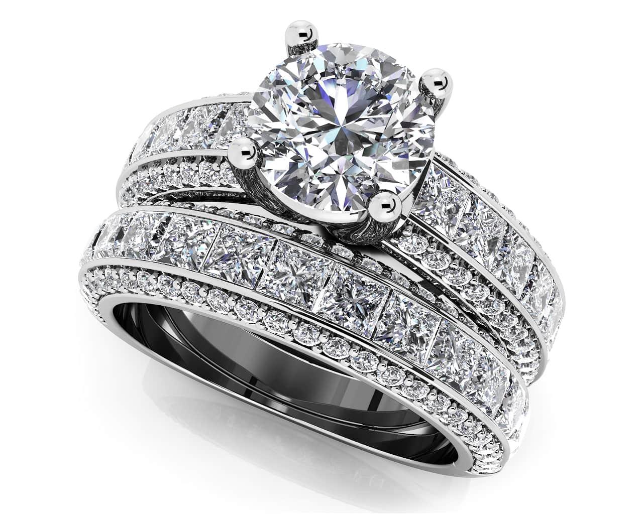 customize your wedding set matching diamond bridal set - Diamond Wedding Ring Sets