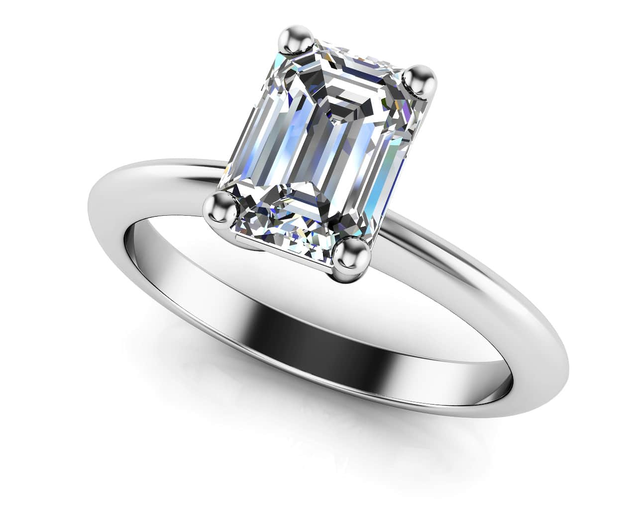 Classic Emerald Cut Diamond Engagement Ring In 14k 18k Yellow Gold Or White Gold