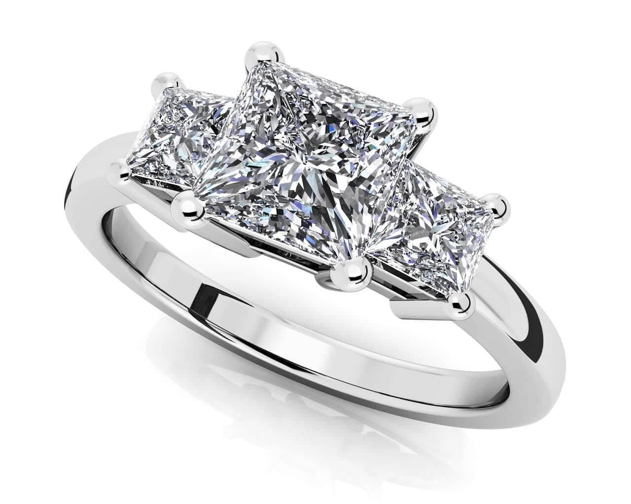 Princess Cut Diamond 3 Stone Ring