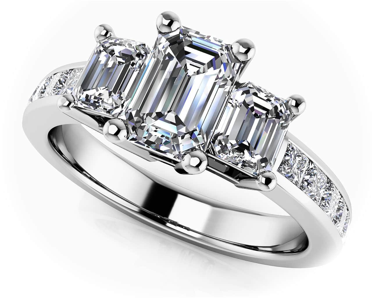 Three Stone Emerald Cut Diamonds Engagement Ring