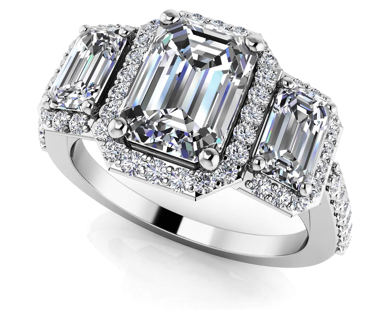 Sparkling Three Stone Emerald Cut Engagement Ring In Platinum Or Gold