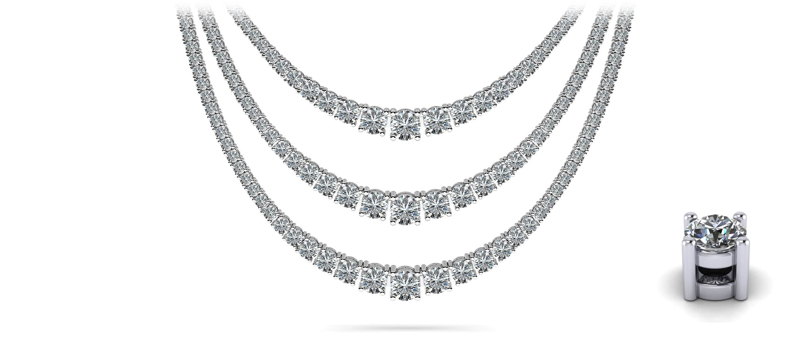 bf2ce6af87be2c 4 Prong Triple Strand Graduated Diamond Necklace