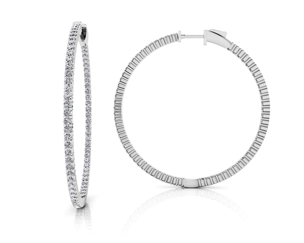 5e31d9405eb650 Single Row Inside Out Diamond Hoop Earring Medium In 14K 18K Or Platinum