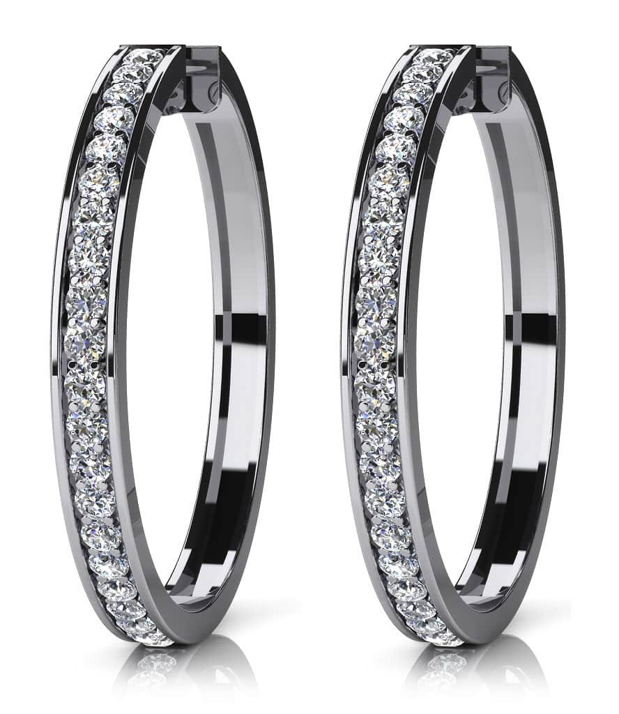 Prong Set Diamond Lined Hoops X Large