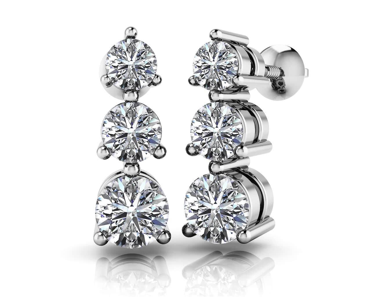 Shop For Three Stone Diamond Earrings