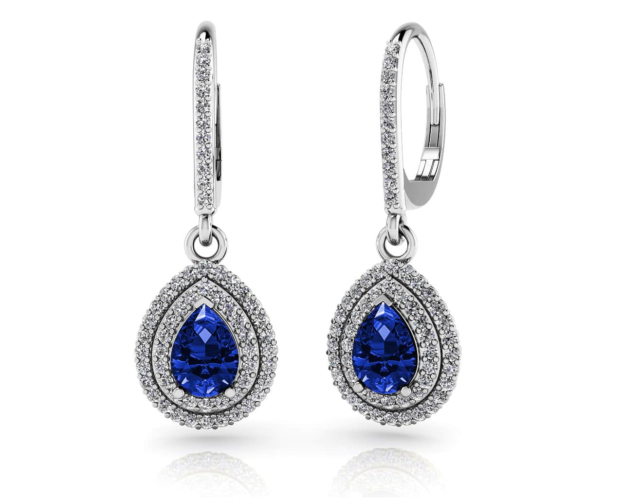 New Vintage Teardrop Diamond And Gemstone Earrings