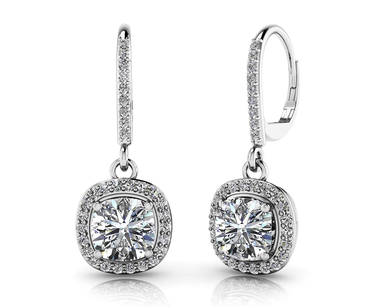 Ravishing Cushion Cut Diamond Drop Earring