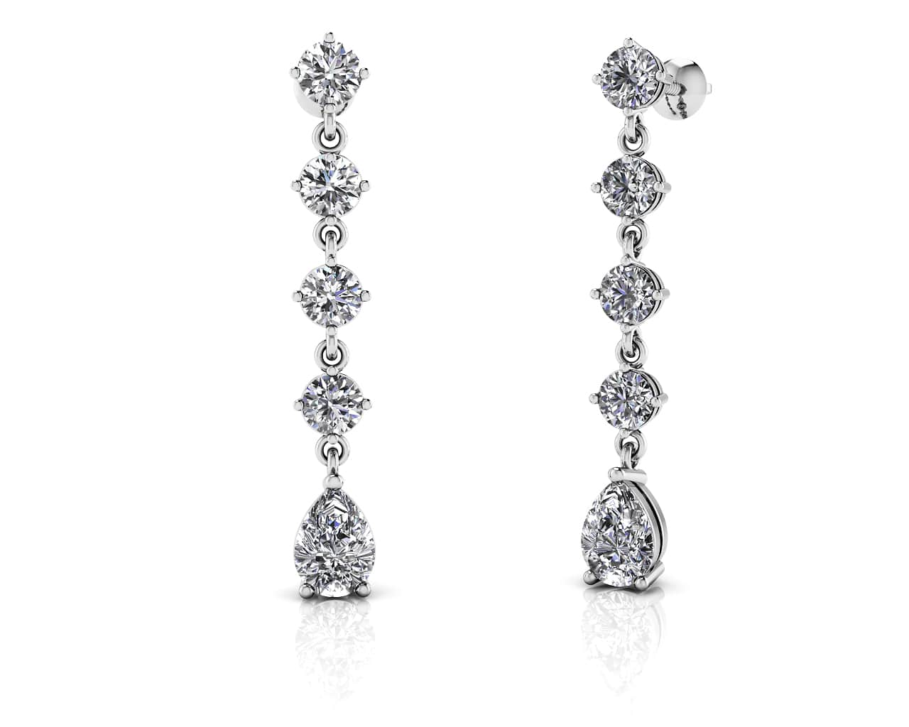 New Brilliant Round And Pear Drop Diamond Earrings