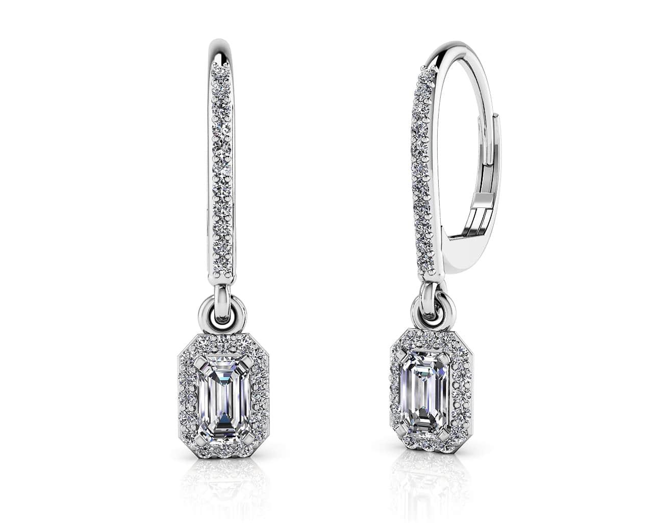 Romantic Emerald Cut Diamond Drop Earrings
