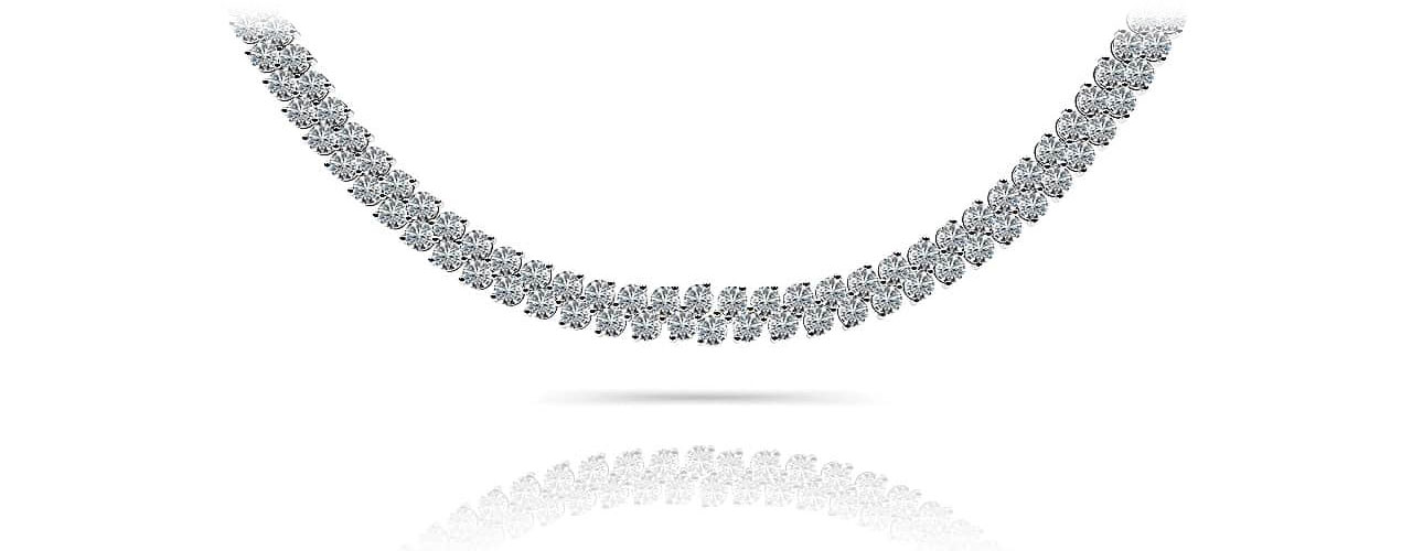 Triple Row Diamond Necklace In Platinum Or Gold