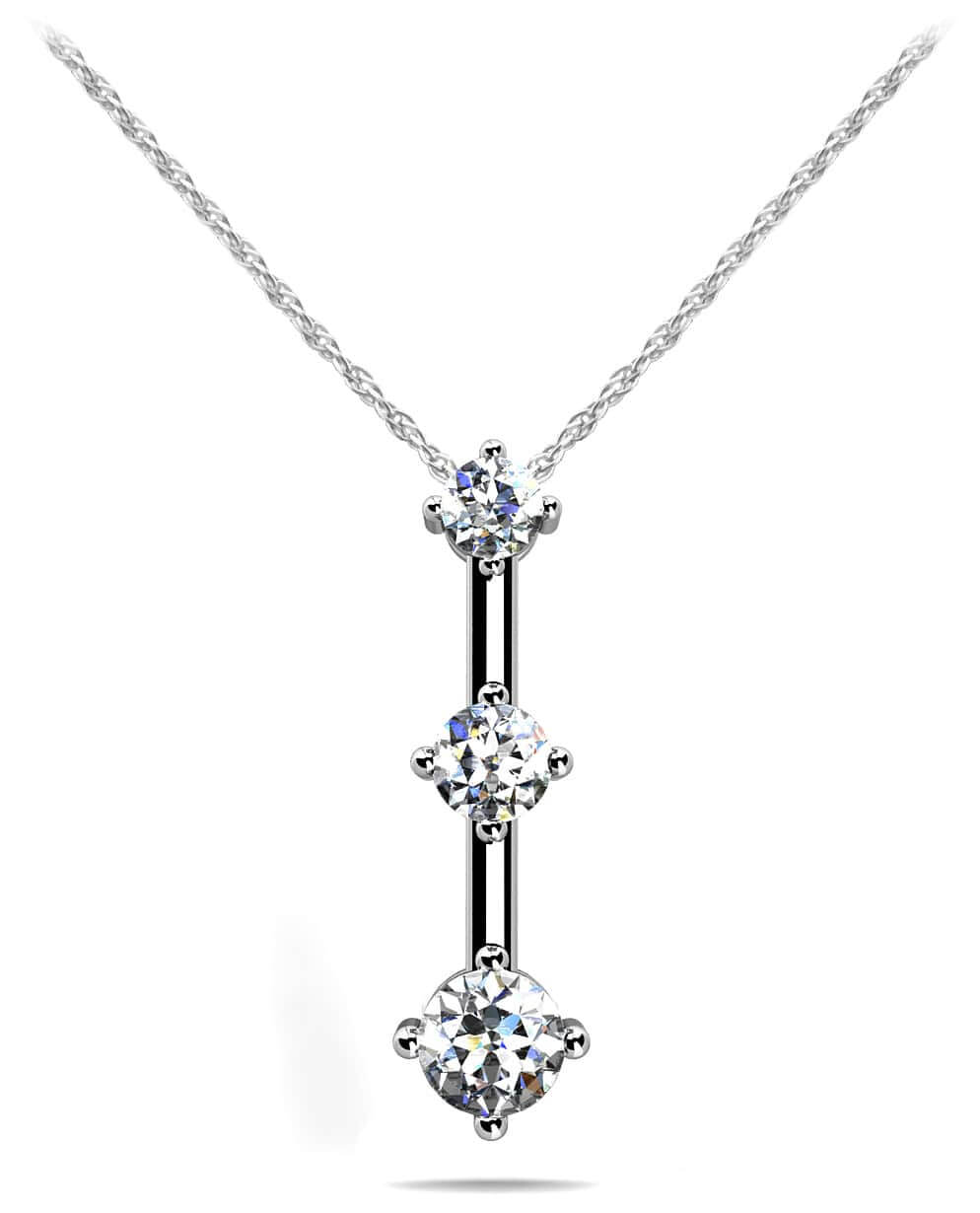 Design your own three stone diamond pendant necklace new offset 3 stone diamond pendant mozeypictures Choice Image