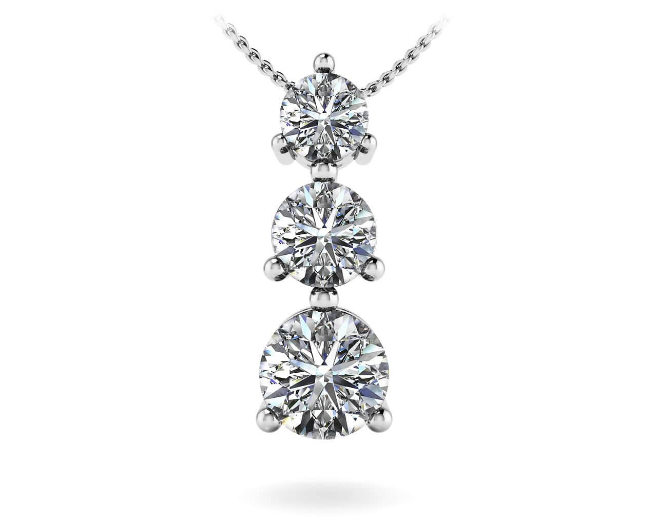 Design your own three stone diamond pendant necklace new mozeypictures Choice Image