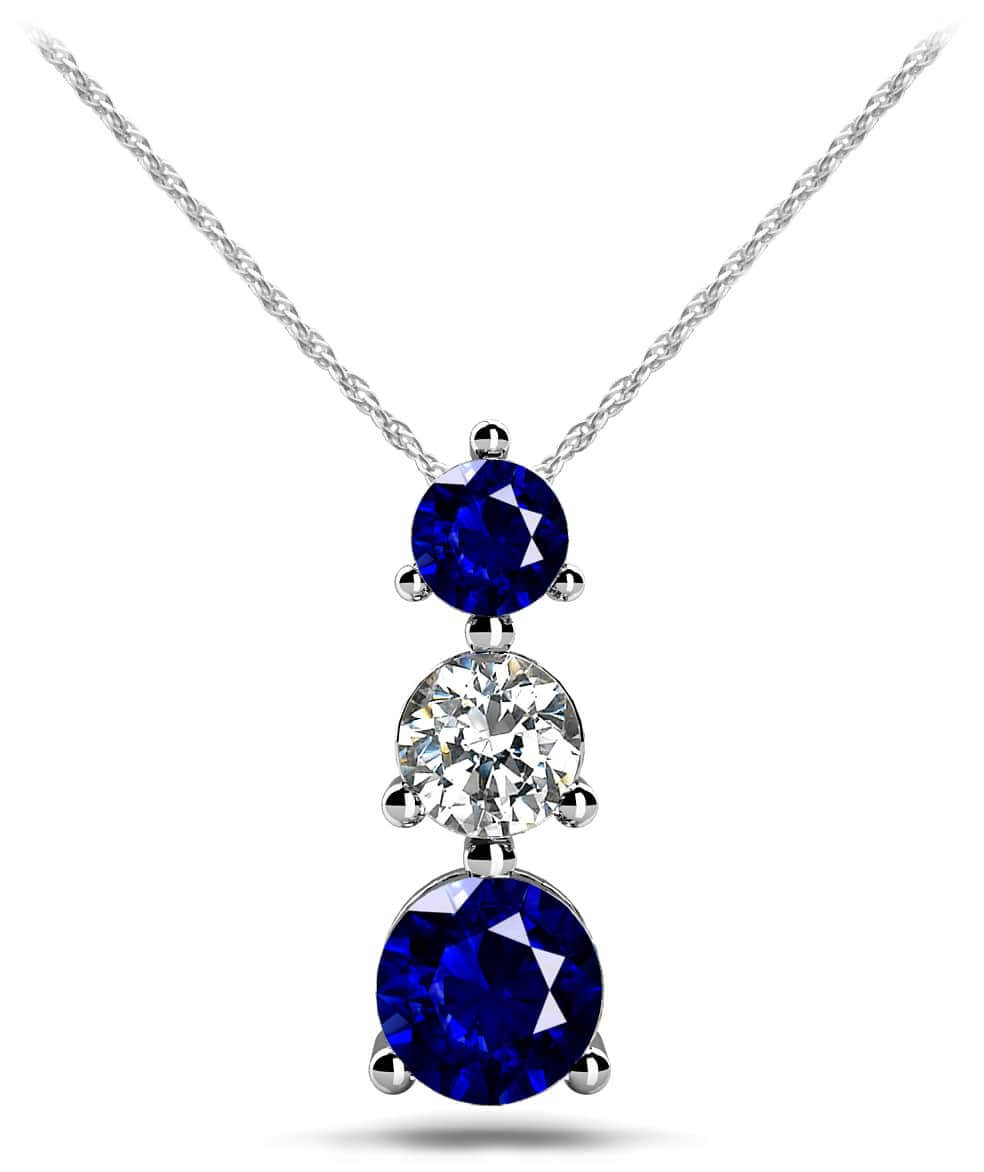 Design your own three stone diamond pendant necklace mozeypictures Choice Image