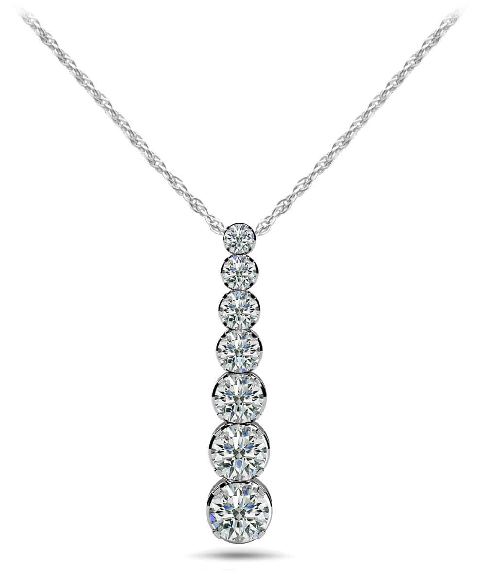 Four Prong Graduated Diamond Drop Pendant